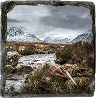 Glen Coe beside River Coe. Medium Square Slate JK_09_MSL