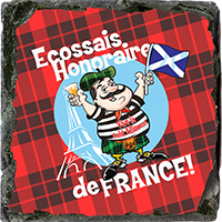 Honorary Scot From France, Small Slate Coaster. JB_14_SSC