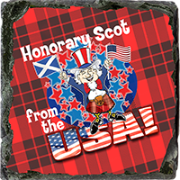 Honorary Scot From USA, Small Slate Coaster. JB_18_SSC
